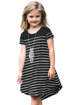 Black Colorblock Patchwork Striped Girls' Dress TZ61105-2