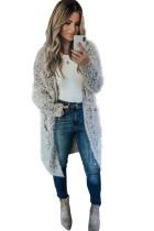 Gray Fuzzy Knit Cardigan with Pockets LC271231-11