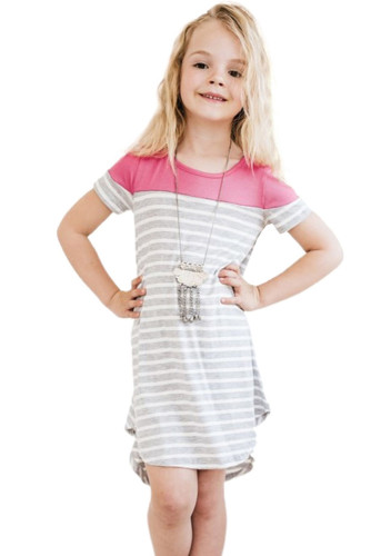 Rose Colorblock Patchwork Striped Girls' Dress TZ61105-6
