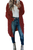 Red Fuzzy Knit Cardigan with Pockets LC271231-3