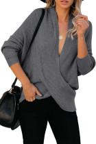 Gray Drape Knit Sweater LC272507-11