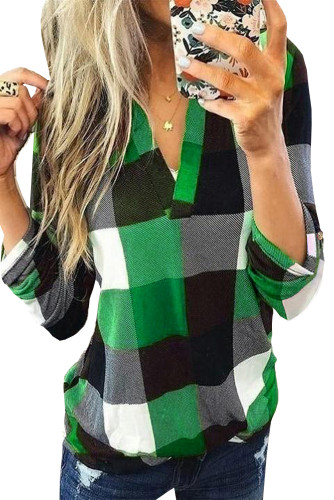 Green Contrast Plaid V Neck Long Sleeve Top LC2515700-9