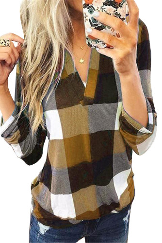 Yellow Contrast Plaid V Neck Long Sleeve Top LC2515700-7