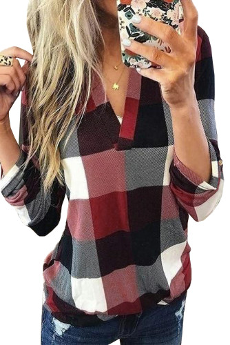 Red Contrast Plaid V Neck Long Sleeve Top LC2515700-3