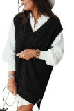 Black Knit Vest Pullover Sweater LC272963-2