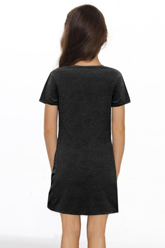 Black Little Girls' V Neck T-shirt Mini Dress with Twist Hem TZ61107-2