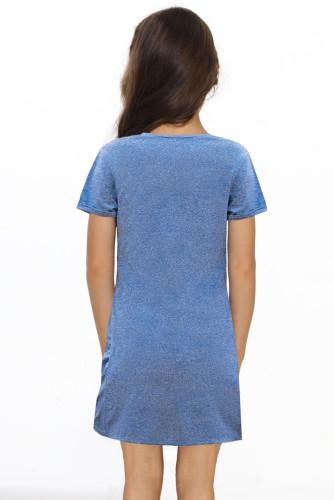 Blue Little Girls' V Neck T-shirt Mini Dress with Twist Hem TZ61107-5
