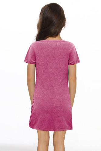 Pink Little Girls' V Neck T-shirt Mini Dress with Twist Hem TZ61107-10