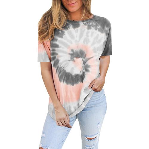 Gray Tie Dye Print Short Sleeve T Shirt TQK210628-11