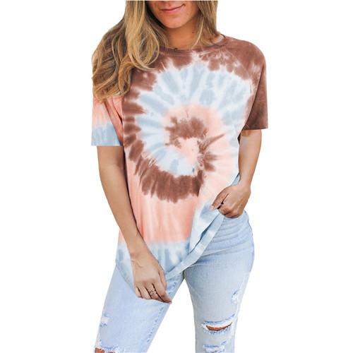 Coffee Tie Dye Print Short Sleeve T Shirt TQK210628-15