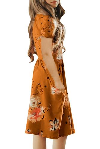 Orange Short Sleeve Pocketed Children's Floral Dress TZ61103-14