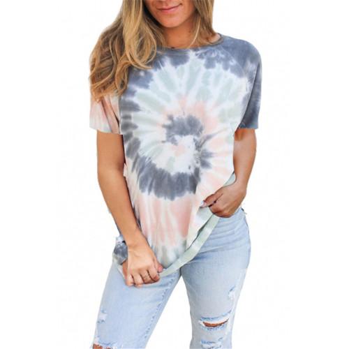Pewter Tie Dye Print Short Sleeve T Shirt TQK210628-43