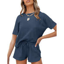 Navy Blue Cotton Blend Casual Pullover and Short Set TQK710257-34