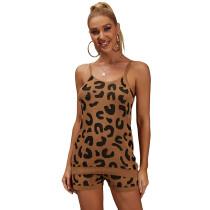 Khaki Leopard Knit Tank with Short Set TQK710258-21