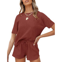 Rust Red Cotton Blend Casual Pullover and Short Set TQK710257-33