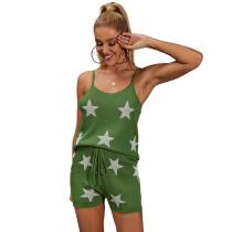Green Stars Print Knit Tank with Short Set TQK710259-9