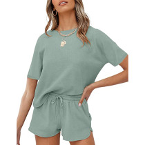 Light Green Cotton Blend Casual Pullover and Short Set TQK710257-28