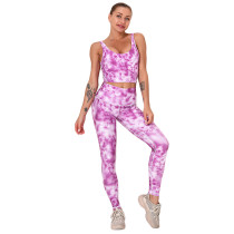 Rosy Digital Print Yoga Bra with Pant Set TQK710267-6