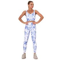 Blue Digital Print Yoga Bra with Pant Set TQK710267-5