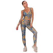 Yellow Digital Print Yoga Bra with Pant Set TQK710267-7