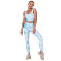 Light Blue Digital Print Yoga Bra with Pant Set TQK710267-30