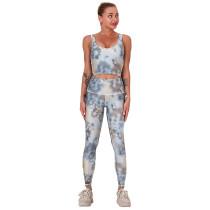 Gray Digital Print Yoga Bra with Pant Set TQK710267-11
