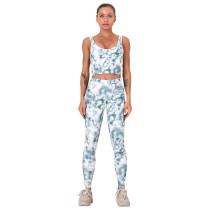Light Gray Digital Print Yoga Bra with Pant Set TQK710267-25