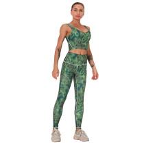 Green Digital Print Yoga Bra with Pant Set TQK710267-9