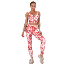 Watermelon Red Digital Print Yoga Bra with Pant Set TQK710267-63