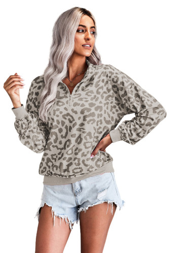 Gray Leopard Zipped Collar Long Sleeve Sweatshirt LC253327-1011