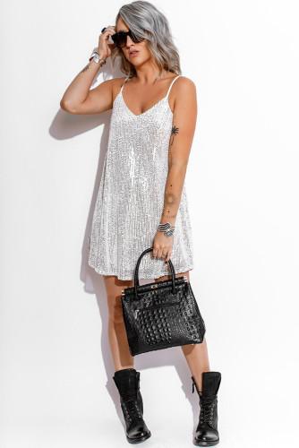 White Sequins Spaghetti Straps Mini Dress LC223931-1