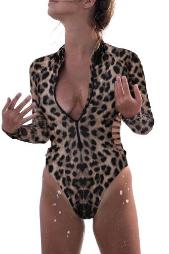 Leopard Print Zipper Cut-out Rash Guard Swimsuit LC481010-20