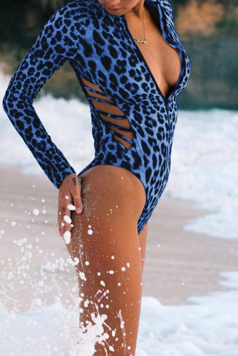 Blue Leopard Print Zipper Cut-out Rash Guard Swimsuit LC481010-5