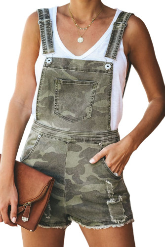Green Captain Cotton Camo Pocketed Overall Shorts LC78844-9