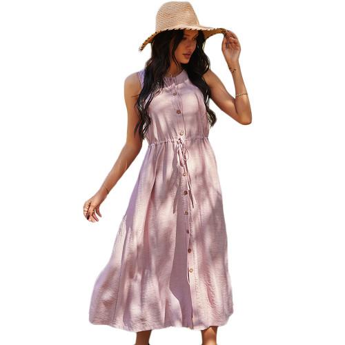 Pink Button Down Tie Waist Sleeveless Holiday Dress TQK310498-10