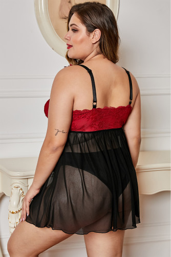 Black Lace Cup Tulle Skirt Plus Size Babydoll LC31393-2