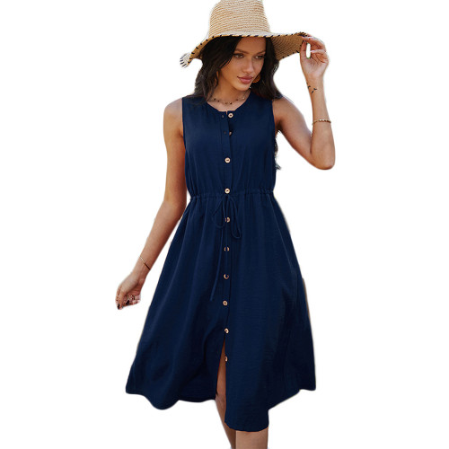 Navy Blue Button Down Tie Waist Sleeveless Holiday Dress TQK310498-34
