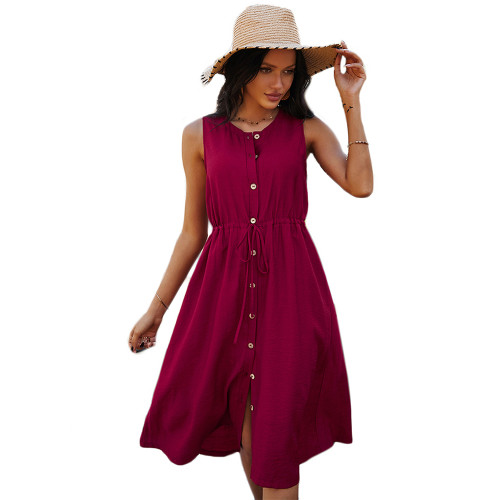 Red Button Down Tie Waist Sleeveless Holiday Dress TQK310498-3