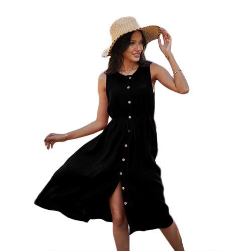 Black Button Down Tie Waist Sleeveless Holiday Dress TQK310498-2