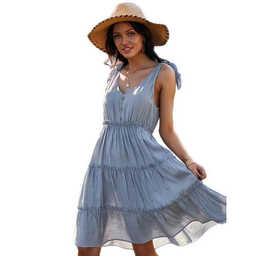 Light Blue Buttoned Knot Shoulder Holiday Dress TQK310497-30