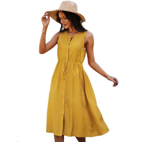 Yellow Button Down Tie Waist Sleeveless Holiday Dress TQK310498-7