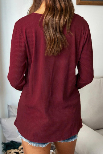 Burgundy V-neck Lace Button Ribbed Long Sleeve Top LC2513109-3