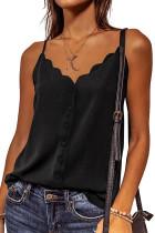 Black Spaghetti Straps Buttoned V Neck Vest LC256678-2