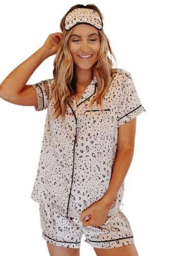 Leopard Print Satin Short Sleeve Shirt and Shorts Pajama Set LC451898-20