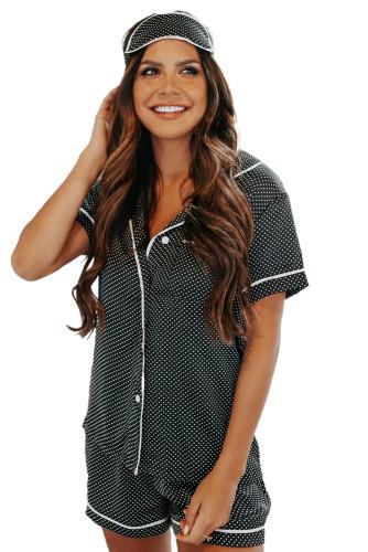 Gray Dotted Satin Short Sleeve Shirt and Shorts Pajama Set LC451898-11