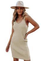 Khaki V Neck Sleeveless Ribbed Mini Dress LC224036-16