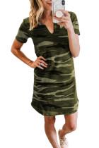 Green Camouflage Print V Neck T-shirt Cotton Mini Dress LC223974-9