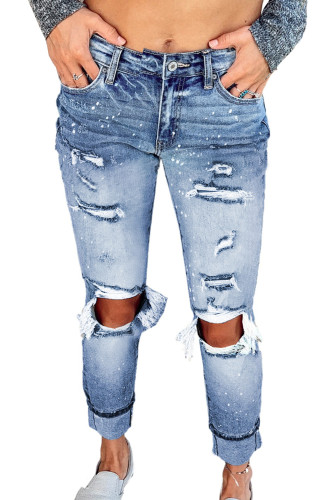 Light Blue Ripped Straight Leg Jeans LC781017-4