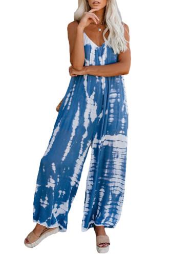 Blue Spaghetti Strap Tie Dye Baggy Long Pants Romper LC64379-5