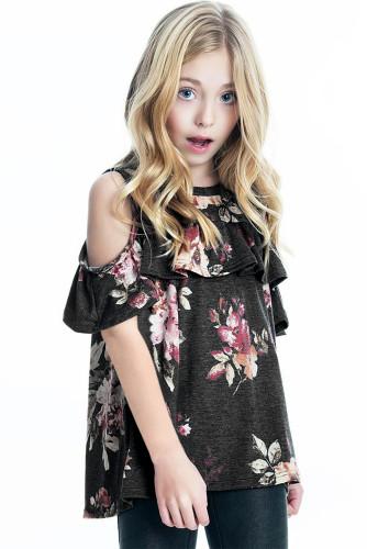 Black Ruffled Cold Shoulder Floral Girls' Top TZ25232-2